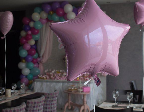 Folija zvezda balon roze boje