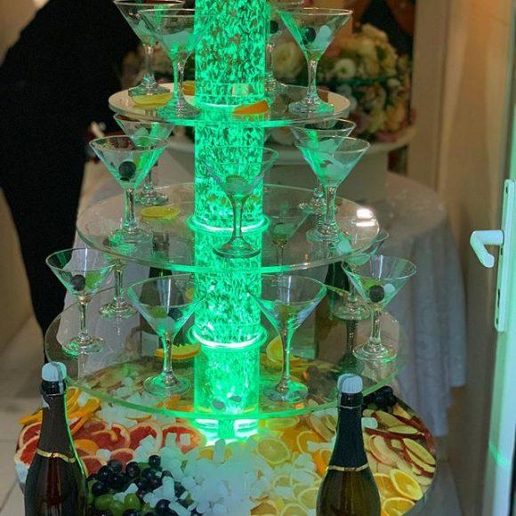 Sampanjac fontana sa dekoracijom voćem i suvi led